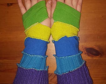 Katwise inspired upcycled arm warmers purple and blue and green fingerless gloves  pixie elf fairy faerie patchwork