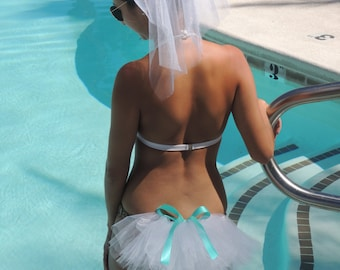 Bikini Veil or Booty Veil with Teal Blue Bow