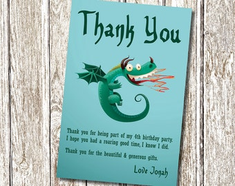 Dragon Thank you card - Printable and Personalised