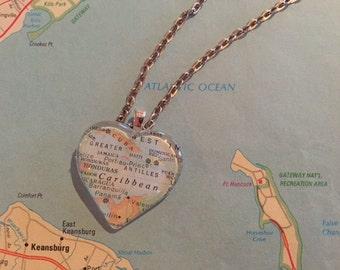 Jamaica Vintage Map Pendant Necklace