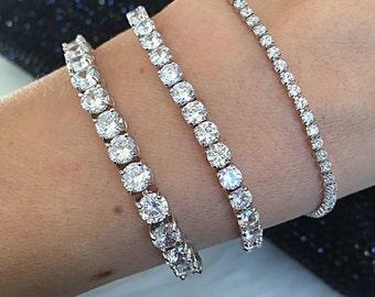 3 Colors/3 Sizes. Classic Tennis Bracelet Cubic Zirconia and 18K Gold, Rose Gold or Platinum Plating. Bridal Bracelet.