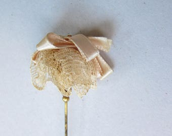 True Antique Incredible Brass and Cloth Wedding Victorian Hat Stick Pin