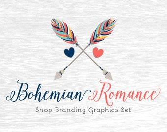 Boho Arrows Shop Branding Banners, Avatar Icons, Business Card, Logo Label + More - 13 Premade Graphics Files - BOHEMIAN ROMANCE