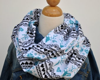 Fair Isle Infinity Scarf, Jersey Knit Scarf, Christmas Infinity Scarf, Gray and Turquoise, Reindeer Fair Isle