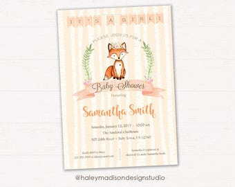Fox Baby Shower Invitation, Girl Fox Baby Shower Invitation, Woodland Baby shower, Whimsical Fox Baby shower, DIGITAL FILE