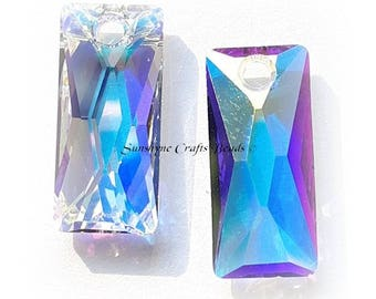Swarovski Crystal Beads 6465 CRYSTAL AB Queen Baguette Pendant 1 Pc - Sizes 13.5mm & 25mm available