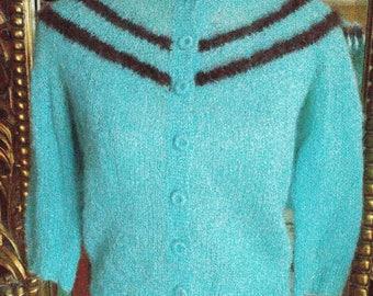 Vintage 1950's Handknit Mohair Cardigan Sweater!
