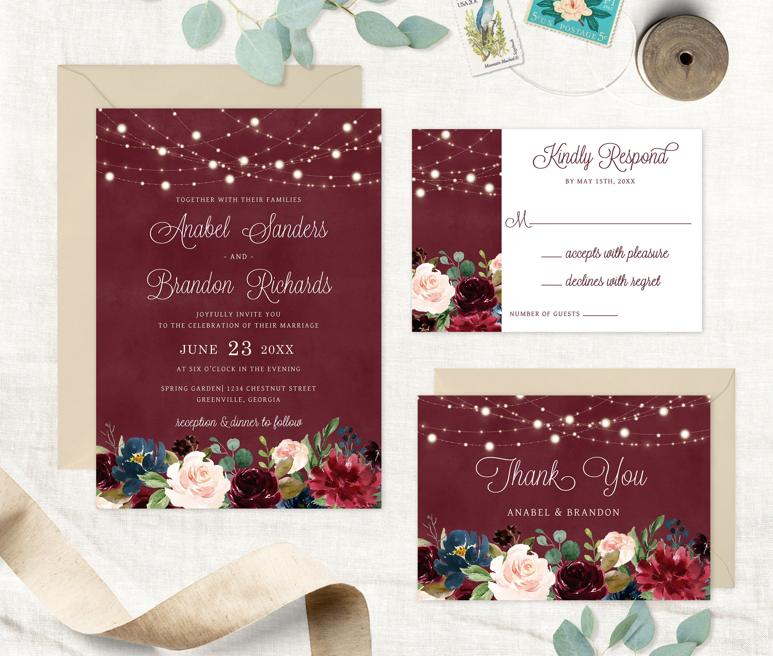Colorful Burlap Wedding Invites Images - Invitations and ...
