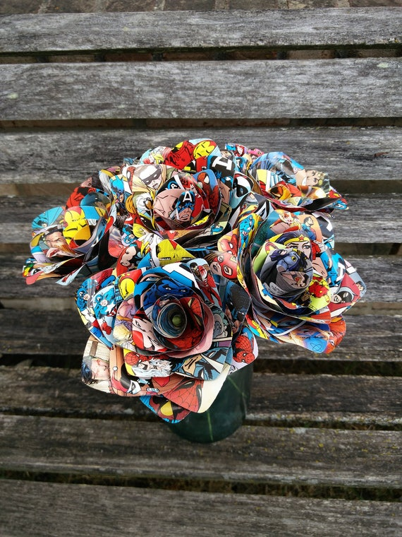 6 Comic Book Roses.  Wedding, Birthday, Anniversary, Centerpiece. Gift. First Anniversary. Home Decor.