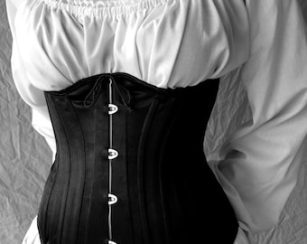 Underbust Victorian Corset c. 1880 Steel Boned Historical Hourglass with Busk Waspie brocade satin or cotton coutil, made to measure
