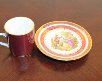 Demitasse Cup and Saucer – Burgundy with Gilt Trim