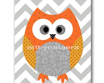 Kids Wall Art Owl Nursery Owl Decor Baby Nursery Decor Baby Girl Nursery Kids Art Baby Room Decor Nursery Print Girl Print Orange Gray
