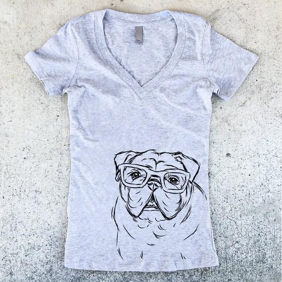 Oliver - Nerd Bulldog Women's V-Neck T-shirt - 3 Color Options - Dog Owner Gift, Dog Lover, English Bulldog Shirt, Funny Bulldog Shirt