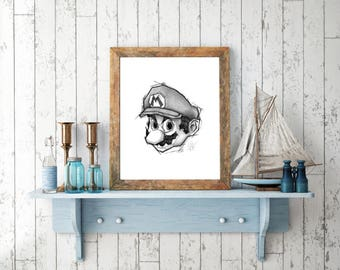 Super Mario, Handmade Drawing, Digital Print, Decoration, Nintendo Art, Games Art, Videogames Illustration