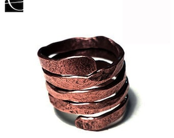 copper ring spiral hammered handmade tribal, etnic, elegance