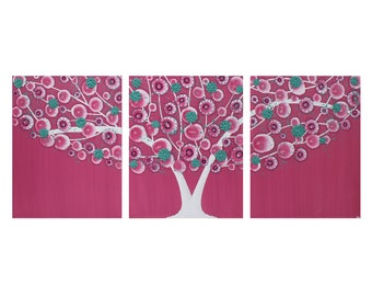 Pink Wall Art for Girl Bedroom - Tree Painting on Canvas Triptych - Medium 35x14