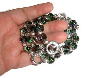 Organic Silver cuff Glass bead cuff quadruple wrap cuff four wrap cuff  Glass Bead Bracelet abstract cuff bracelet silver & glass gift idea