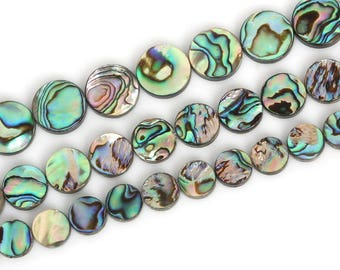 Natural Abalone Sea Shell Gemstone Beads Flat Coin Round Beads For Jewelry Making 6mm 8mm 10mm 12mm 14mm 16mm