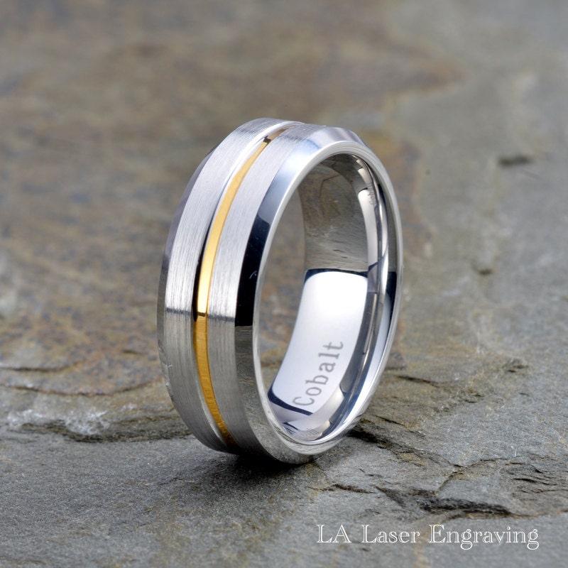 Cobalt Wedding Band Cobalt Wedding Ring 18K Yellow Gold