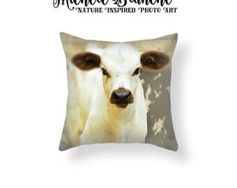 Calf Photo Pillow, Baby Cow Pillow Cover, Rustic Farm House Decor, Nursery Toss Pillow, Curious Cow Throw Pillow, Farm House Pillow Cover
