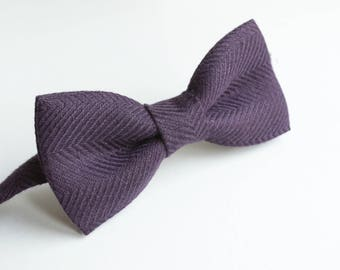Purple Herringbone Linen BowTie- Plum Bowtie - Eggplant Bow Tie- Groomsmen Bow ties- Purple Wedding