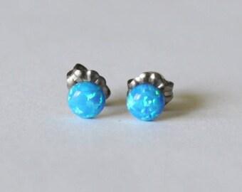 5mm bright blue opal stud earrings- Titanium opal earrings-Blue opal studs- Small opal earrings- Titanium earrings- Hypoallergenic
