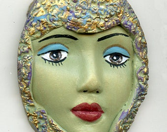 Polymer Clay One of a Kind  Green textured and  Detailed  Art Doll Face with hat GTH 1