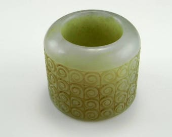 Antique Qing Dynasty Mens Thumb Ring Archers Ring Nephrite Jade Ring Antique Jade Ring Antique Mens Ring Natural Jade BanShi  Mens Jewelry