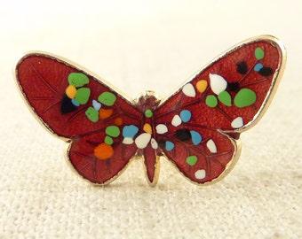 Vintage 12K Gold Filled Red Speckled Butterfly Brooch