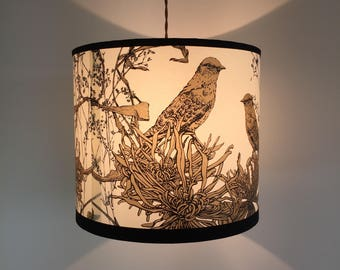 Gold and Black Screen Printed Bird Lampshade