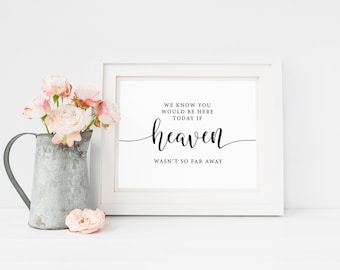 We Know You Would Be Here Today If Heaven Wasn't So Far Away Sign, Wedding Memorial Sign, Remembrance Sign, Ceremony Sign, In Loving Memory