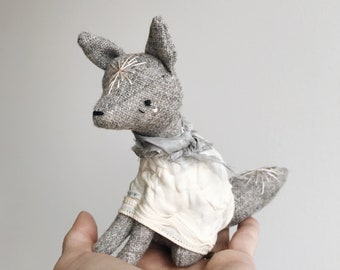the shy spring - tiny grey fox | soft sculpture animal
