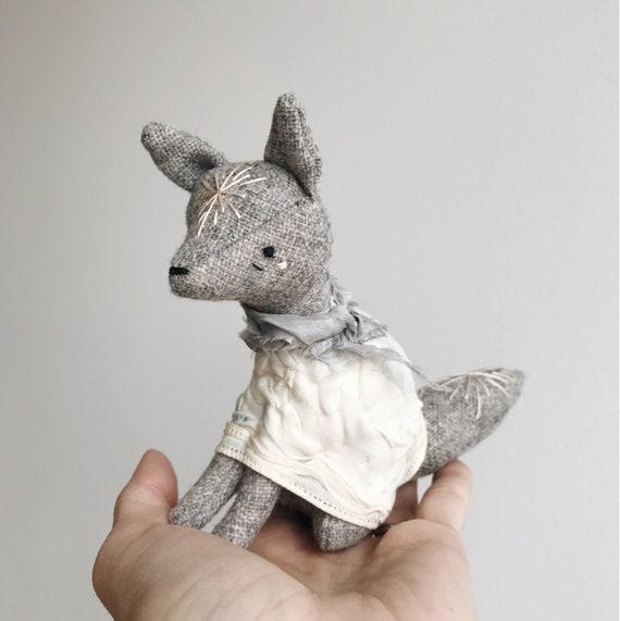 the shy spring - tiny grey fox | soft sculpture animal