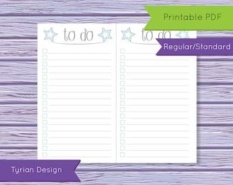 Standard Size To Do List for Midori Traveler's Notebook, Regular Size Printable(Digital Download)