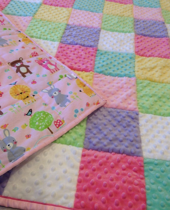 Pastel quilt baby girl minky quilt double satin bindingmichael miller flannel backing toddler minky quiltpastel minky dimple