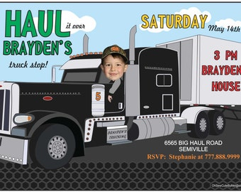 Semi Truck Birthday Invitation, Photo Truck Birthday Invitation, Semi Truck Birthday Party, Photo Invitations