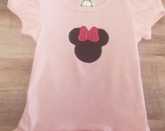 Minnie Mouse applique ruffled shirt