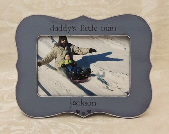 Daddy little man frame Fathers day gift dad papa daddy apa Personalized Custom photo picture frame son daughter father groom wedding gift
