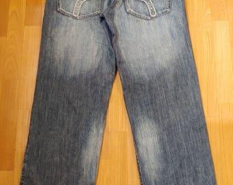Pelle Pelle jeans, blue baggy jeans vintage 90s hip-hop clothing, 1990s hip hop shirt, distressed OG, gangsta rap, size W 36