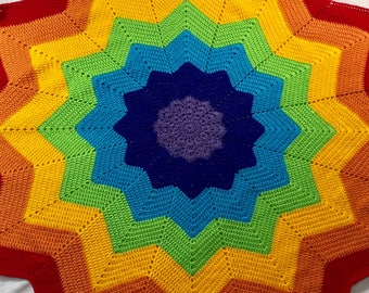 Rainbow crochet blanket - throw - star blanket - starburst blanket - sunburst blanket - baby gift - 12 point star blanket - playmat - 46""