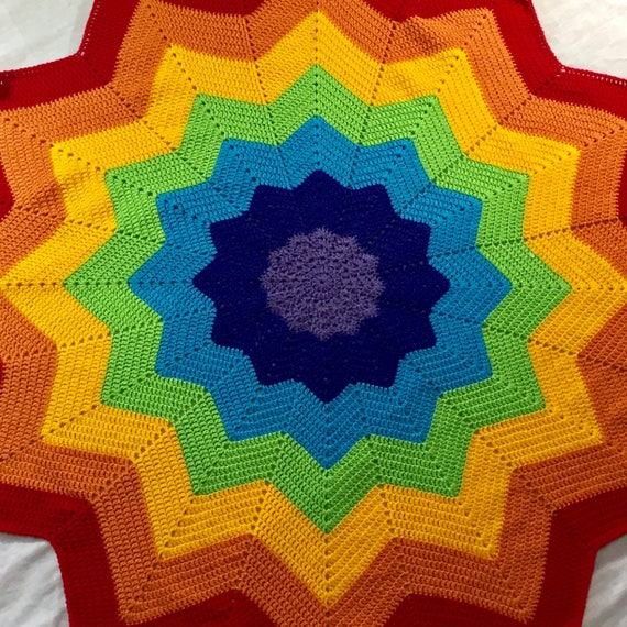 Rainbow Crochet Blanket Throw Star Blanket Starburst