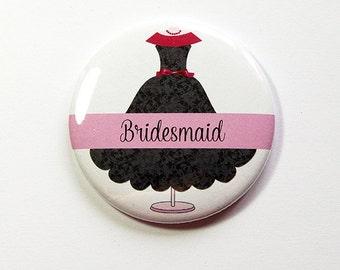 Bridesmaid mirror, Bridesmaid gift, Personalized pocket mirror, pocket mirror, custom pocket mirror, bridal shower favor, black, pink (4981)