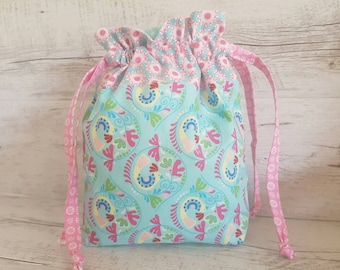 Knitting Project Bag, Sewing bag, Toiletry bag, Makeup bag, Drawstring bag, Sock knitting bag, Storage bag,