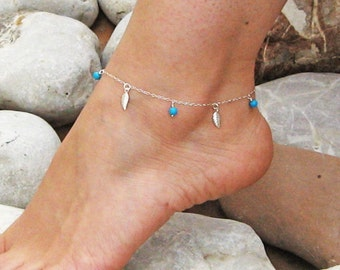 Leaves Anklet, Turquoise Ankle Bracelet, Sterling Silver, Dangle Leaf Anklet, Beach Anklet, Foot Jewelry, Bridesmaid Jewelry, Gift Under 25