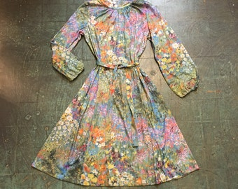 Vintage 60s 70s abstract floral watercolor dress // size 16 1/2 xl // retro boho indie alternative spring summer festival // Union made