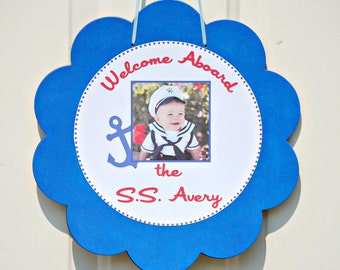 The NAUTICAL Fare - Custom Hanging Door Sign from Mary Had a Little Party