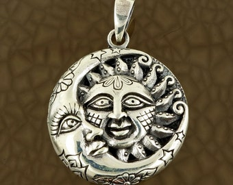 Sterling Silver Sun and Moon Pendant Amulet Pagan