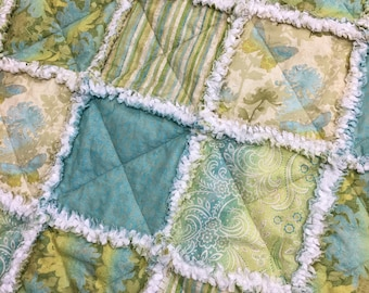 Baby Rag Quilt, Crib Quilt, Toddler Quilt, Nursery Blanket, 42 X 54, Green, Turquoise, Radiance by Deborah Edwards, Northcott, Ready to Ship