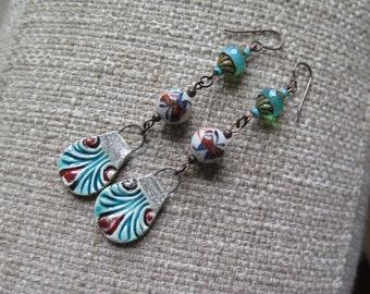 teal boho earrings, long boho earrings, unique earrings, butterfly earrings, butterfly jewelry, unusual earrings, turquoise and rust earring