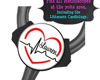 Yoke Stethoscope Tag - EKG Red Heart - Fits all Steths at the Yoke including the Littmann Cardiology